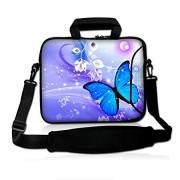 "Blue Butterfly 14"" 14.1"" 14.2"" 15"" 15.4"" 15.6 Inch Laptop Notebook Computer Netbook Soft Shoulder Bag Dual Zipped Neoprene Messenger Bag Case Cover Po"