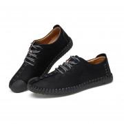 Invierno Mantenga Caliente Hombres Calzado Casual De Moda Cuero Microfibra Negro