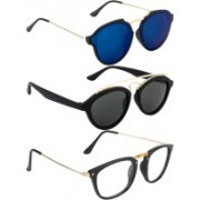 NuVew Oval, Rectangular, Round Sunglasses(Clear, Grey, Blue)