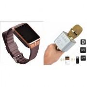 Mirza DZ09 Smart Watch and Q9 Microphone Karrokke Bluetooth Speaker for LG OPTIMUS L4 DUAL(DZ09 Smart Watch With 4G Sim Card Memory Card| Q9 Microphone Karrokke Bluetooth Speaker)