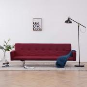 vidaXL Разтегателен диван с подлакътници, виненочервен, полиестер
