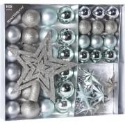 Geen Kerstversiering kerstballen met piek ijsblauw/zilver 45 delig