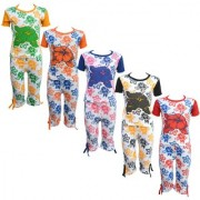 Eazy Trendz Baby Girls Mindblowing Floral Printed Half Sleeve Top & Bottom Tshirt and Capri Super Set of 5