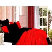 Lenjerie de pat din bumbac satinat de calitate cu 4 piese Textilis in culorile Rosu UNI / Negru UNI