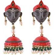 Jewels Gold Alloy Party Wear Wedding Latest Stylish Krishna Jhumki Earring Set For Women Girls