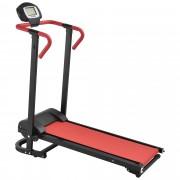 [in.tec]® Cinta de correr [roja] mecánica (NO automático) con pantalla LCD plegable entrenamiento en casa fitness