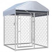 vidaXL Външна клетка за кучета с покрив, 100x100x125 см