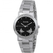 Howdy Crystal Studded Analog Black Dial With Stainless Steel Strap Watch