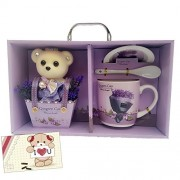 Decorative Buckets Valentine gifts TEDDY BEAR BOUQUET MUG SET With SAUCER And Gift CARD