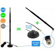 NTR ANT05 14dBi WiFi antenna 38cm RP-SMA dugó + RP-SMA mágneses állvány 3m kábellel
