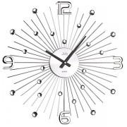 Luxusní paprskovité kovové nástěnné hodiny JVD HT074 s kamínky