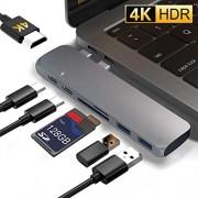 """IFORU Hub USB C a HDMI 4K, 7 en 1 Adaptador a Thunderbolt 3 100W PD Carga, Type C Hub con 2 USB 3.0 Lector Tarjeta SD/TF, Conector para MacBook Air 2019/2018, MacBook Pro 2019/2018/2017/2016(15""""/13"""")"""