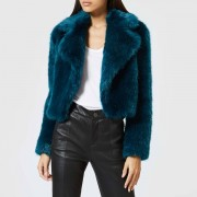 MICHAEL MICHAEL KORS Women's Cropped Fur Jacket - Lux Teal - XS - Blue