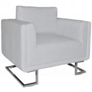 vidaXL fehér műbőr fotel króm lábakkal