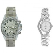 Paidu Silver Men and Glory Silver Chain Women Couple Watches for men and Women