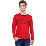 Aero Fashion Red Printed Cotton Round Neck Slim Fit Full Sleeve Men's T-Shirt
