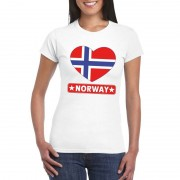Shoppartners Noorse vlag in hartje shirt wit dames