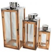 Jysk Partivarer Ljuslyktor av trä och koppar, 3 st. - 55, 40 och 25 cm.