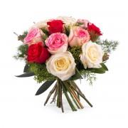 12 Rosas Multicolor de Tallo Corto - Flores a Domicilio