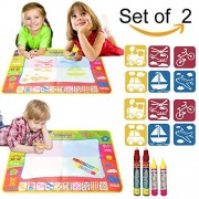 """EXSPORT Aqua Doodle Mat 4 Color Children Water Magic Drawing Book Mat Board & 2 Magic Pens & 6 Drawing formwork Doodle Kids Educational Toy Gift for Boys Girls 31.5"""" x 23.6""""(2 Sets)"""