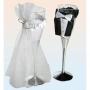 Pahare sampanie de nunta 22cm, set 2 buc