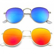 29K Combo set of Stylish Mirrored/Mercury Sunglasses(Round-GoldRed-Blue)