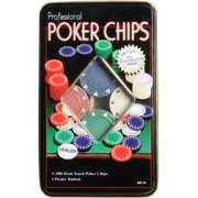 Set Poker cu 100 chips poker in cutie metalica buton dealer jetoane 4 culori de 1 5 10 si 25 plus 2 perechi carti joc cadou