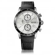 Hugo Boss 1513403 Rafale argento e orologio cronografo uomo pelle nero