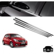 Trigcars Honda BRIO Car Window Lower Chrome Garnish.