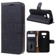 FLEXI notesz tok / flip tok - FEKETE - asztali tartó funkciós, oldalra nyíló, rejtett mágneses záródás, bankkártya tartó zseb, szilikon belső - LG G5 (H850)