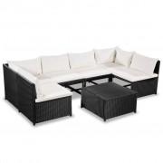 vidaXL Set mobilier grădină, 21 piese, poliratan, negru și alb crem