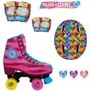 Patines Rush Girl Cuatro ruedas mas set de protecciones