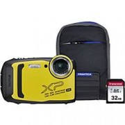 Fuji Digital Camera Finepix XP140 16.4 Megapixel Yellow + Bumper Case + 32GB SD Card