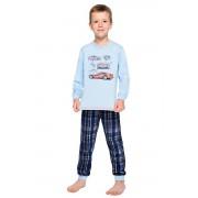Pijama pentru băieți din bumbac Maty albastră cu mașină 122