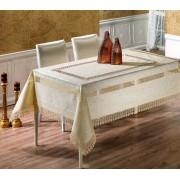 Față de masă Valentini Bianco,160x160 cm, Model cu 2 broderii Crem