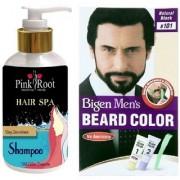 Pink Root Hair Spa Shampoo With Bigen Men's Beard Color B101 Natural Black