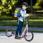 HomCom® Trotinete Scooter de 2 Rodas 16 Pulgadas Trotinete para Crianças e Adultos Guiador Ajustável com 2 Travões Carga 100kg 143x58x92-100cm Rosa