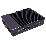 HUNSN Fanless Mini PC,Desktop Computer,with Windows 10 Pro/Linux Ubuntu Support,Intel Celeron Quad Core J3160,(Black), BH04,[COM/2HDMI/2LAN/4USB2.0/2USB3.0],(NO RAM/240G SSD)