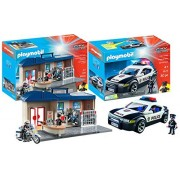Playmobil City Action Playset Bundle with Police Cruiser Playset and Take Along Police Station Playset