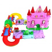 Fantasy Dream Castle Toy Train Car Track Playset w Battery Operated Toy Train Accessories