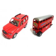 Combo of Scorpio Car and Double Decker Bus Toy for kids |Toys for Show piece | Miniature/Model Car Toys |Pull back and Go | Openable Doors | Red and Red Color, Set of 2 Toys