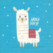 Merkloos 20x Blauwe Kerst tafelversiering lama/alpaca papieren servetten