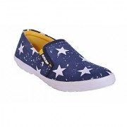 Sukun Mens Blue White Slip On Casual Shoes