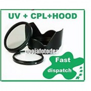 58MM LENS HOOD + SAFTEY UV + CPL LENS FILTER FOR CANON EOS 1000D 1100D 550D 600D