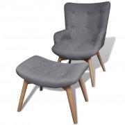 vidaXL Tapicerowany fotel z podnóżkiem, szary, materiałowy