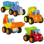 Best Choice Products (Set Of 4) Push And Go Friction Powered Car Toys,Tractor, Bull Dozer Truck, Cement Mixer, Dump Truck