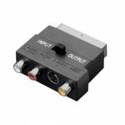 Convertor adaptor bidirectional Scart tata - RCA mama , si S-video VHS cu comutator