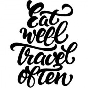 Eat well and travel sticker poster|travelling quotes|for travellers|size:12x18 inch|multicolor
