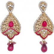 Indian Style Beaded Dangle Drop Fashionable Earrings Traditional Jhumka Jhumki Earrings for Women 23 PINK