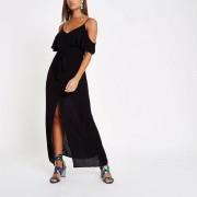 River Island Womens Black cold shoulder maxi dress (Size 14)